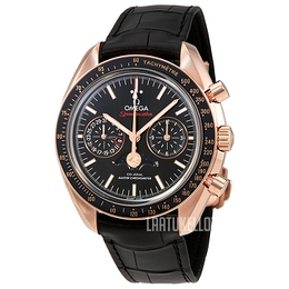 Omega Speedmaster Moonwatch Musta/Nahka Ø44.25 mm 304.63.44.52.01.001